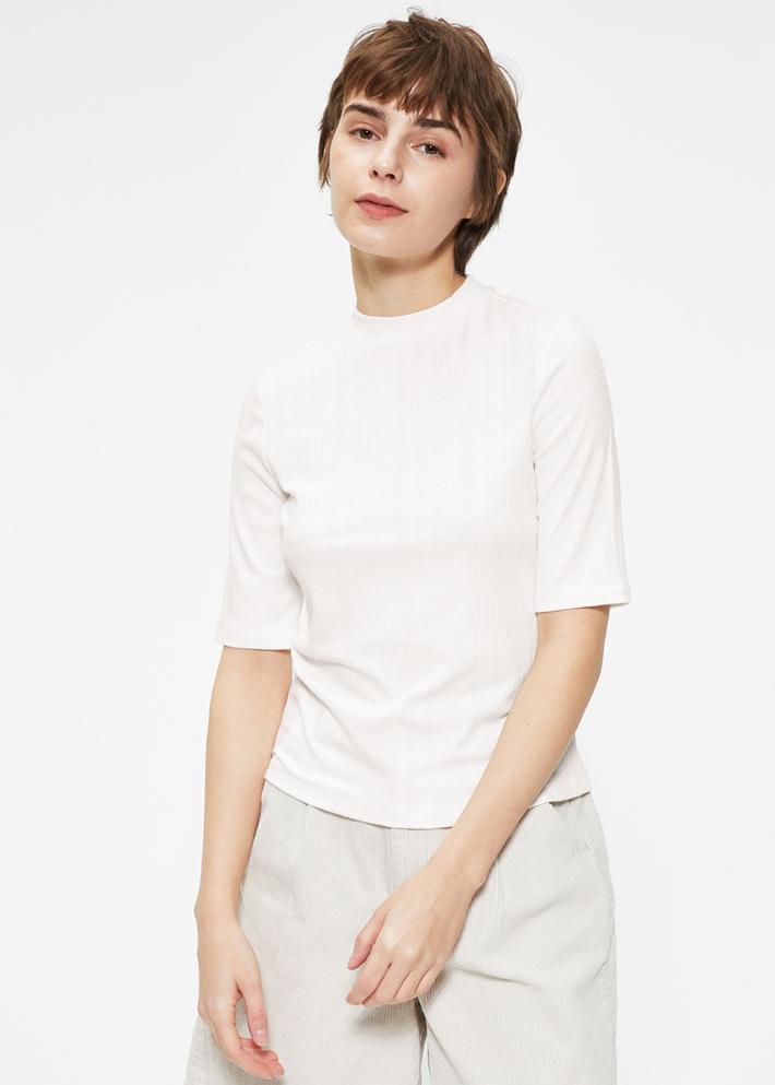 C&A针织罗纹修身短袖圆领T恤女士2020春新款打底衫CA200225412