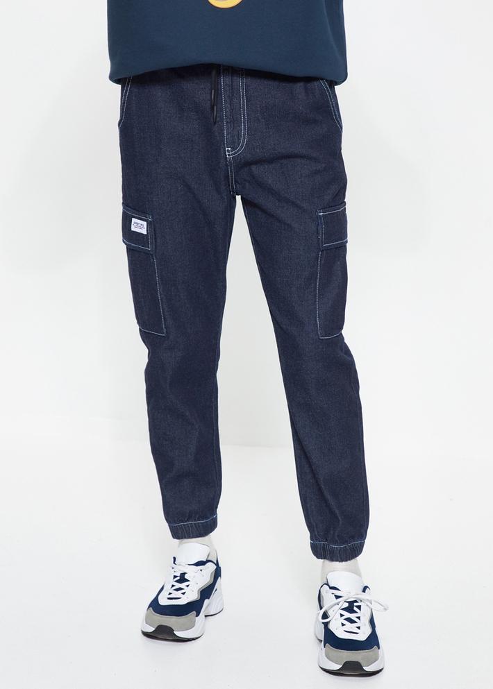 C&A纯棉水洗抽绳工装风束脚牛仔裤男士2020春季新款CA200224951