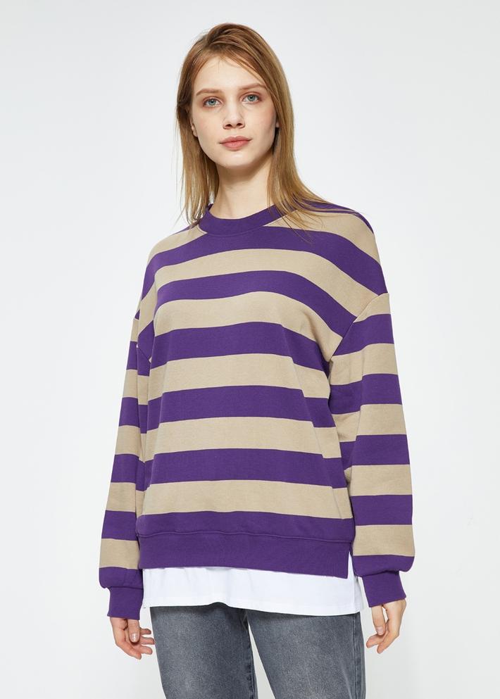 C&A毛圈棉拼接撞色假两件条纹卫衣女士2020春季新款CA200225422