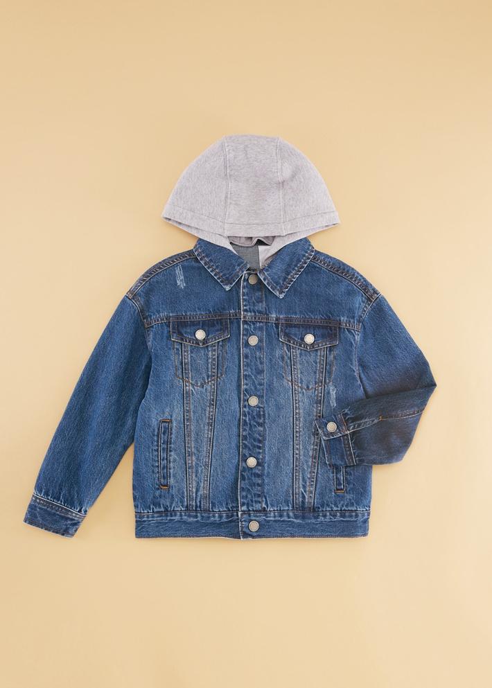 C&A男童撞色连帽牛仔外套2020春季新款儿童潮流夹克CA200224096