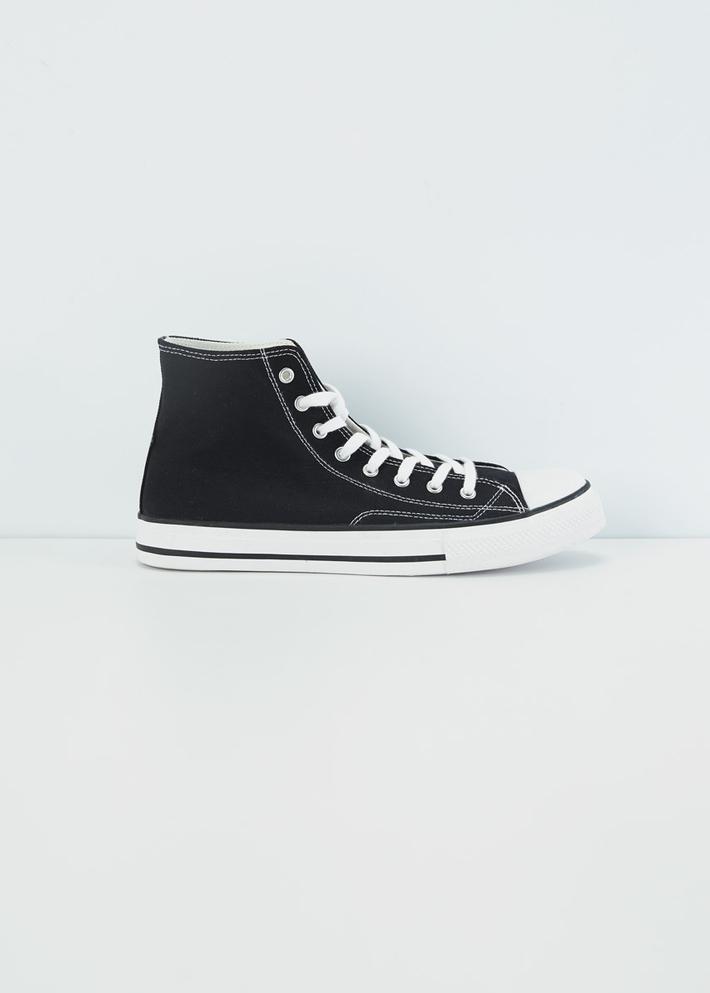 C&A潮流高帮系带球鞋男学生2020春季新款黑色帆布鞋CA200224364
