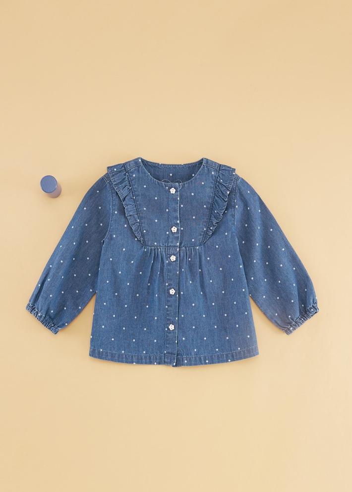 C&A女婴儿花边娃娃衫2020春季新款长袖牛仔衬衫CA200225545