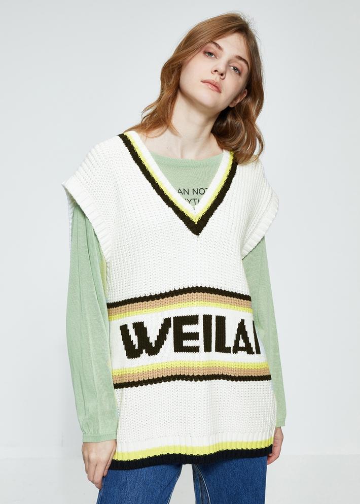 C&A字母提花V领针织背心女学生无袖毛衣2020春新款CA200225175
