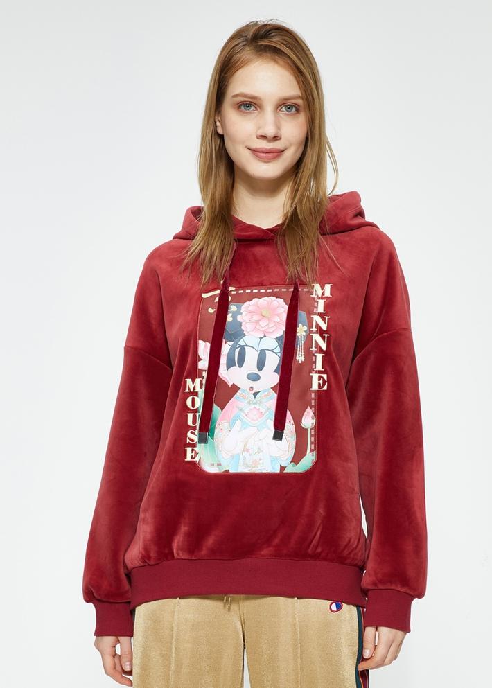 C&A迪士尼国潮风米妮贴布丝绒卫衣女2020春新款CA200225236