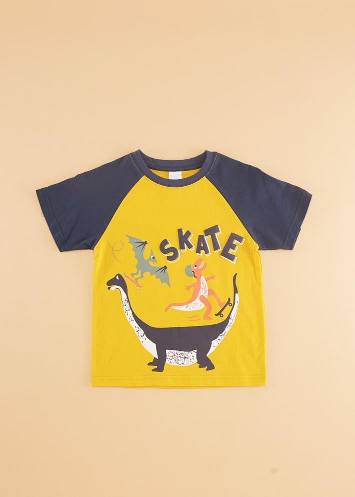 C&A男童卡通印花撞色短袖圆领纯棉T恤2020春夏新款CA200226392