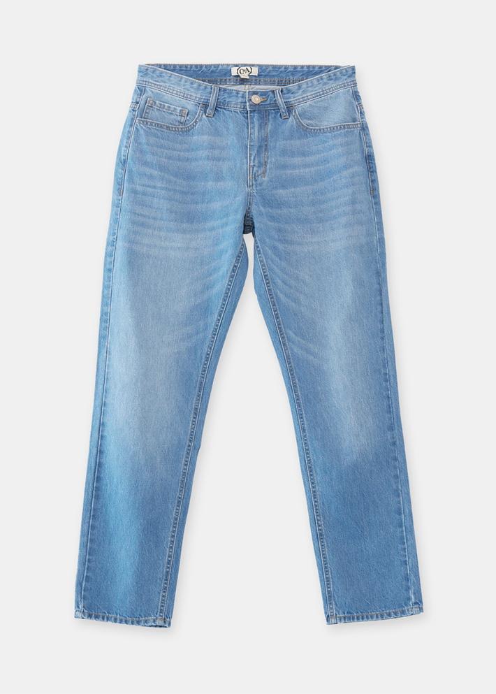 C&A纯棉水洗磨白经典合身小直筒牛仔裤男2020春新款CA200225086