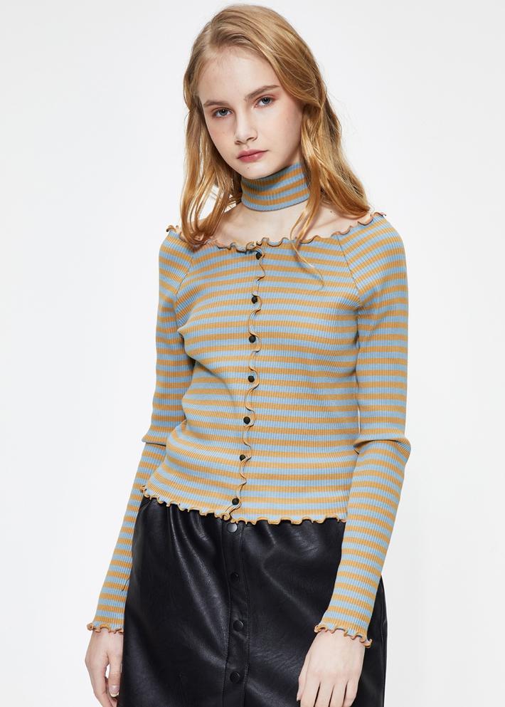 C&A时尚choker领修身短款长袖T恤女士2020春新款CA200226515