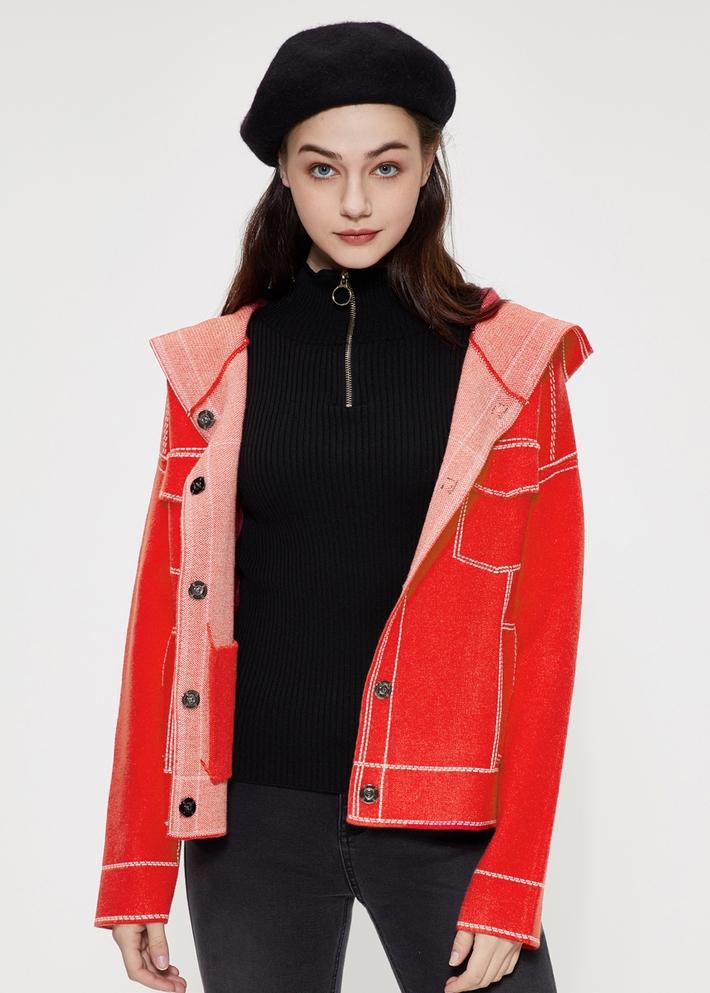 C&A休閑寬松連帽針織開衫外套女2020春季新款CA200225408-R0