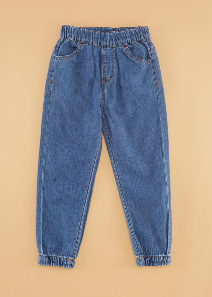 C&A男童薄款纯棉做旧松紧腰休闲束脚牛仔裤2020春新款CA200224112