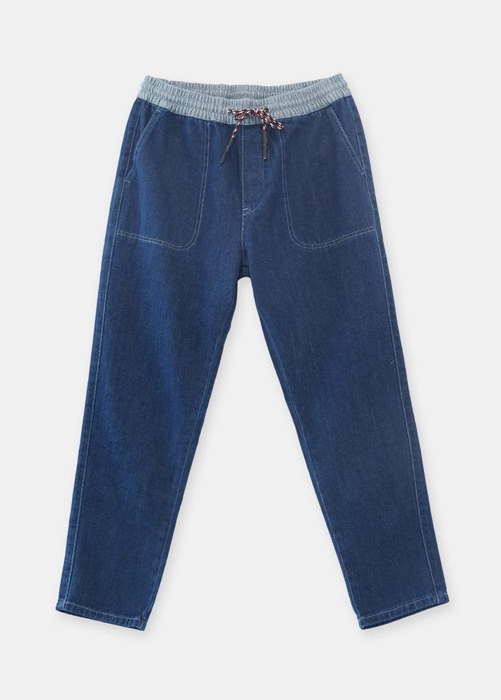 C&A撞色松紧腰水洗磨白锥形牛仔裤男士2020春季新款CA200224913