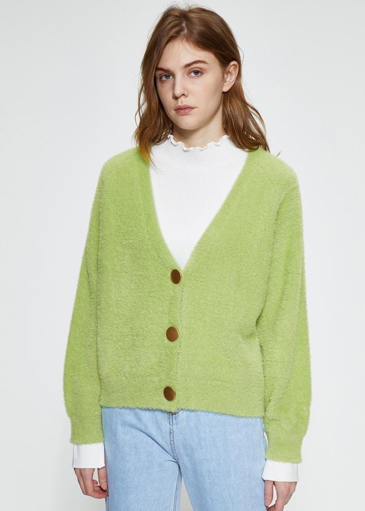 C&A温柔毛绒开衫针织外套女2020春新款V领毛衣CA200226307