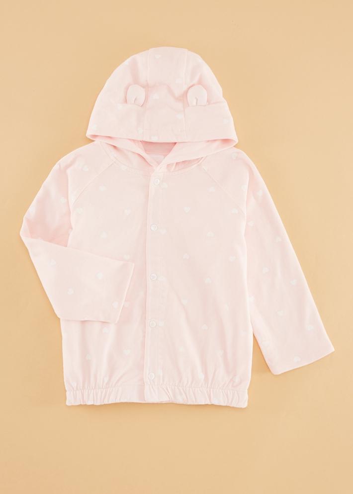 C&A女宝宝双面两穿连帽外套纯棉纽扣开衫卫衣2020新款CA200223916