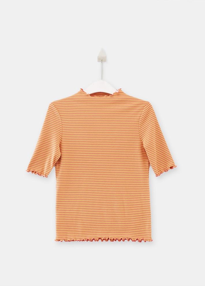 C&A修身木耳花边半袖半高领打底衫T恤女2020春季新款CA200226011