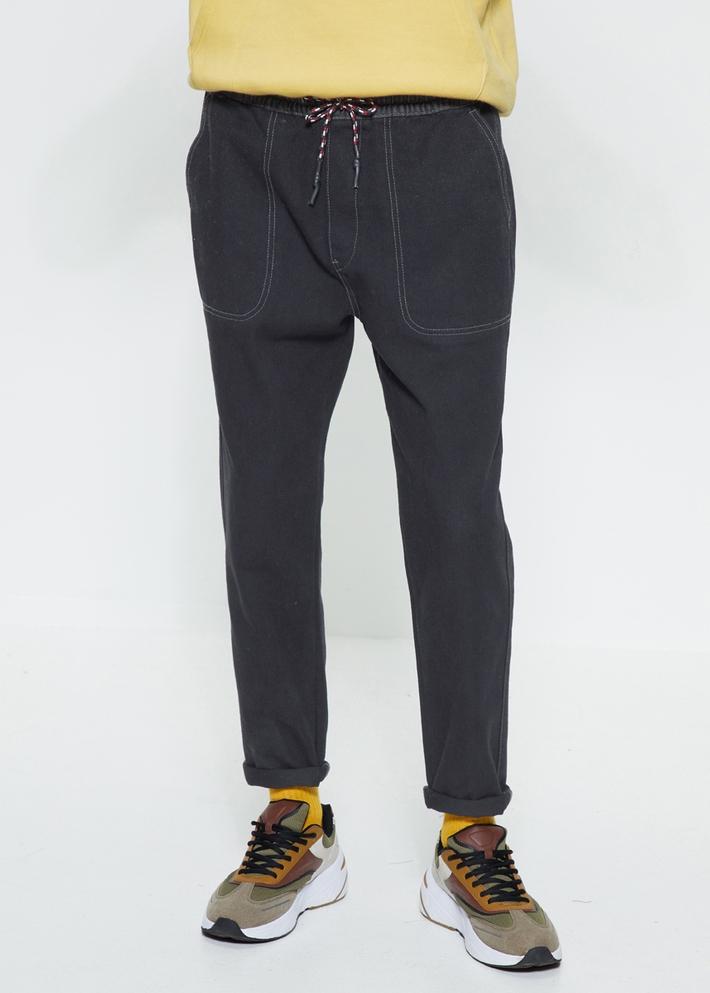 C&A撞色松紧腰水洗磨白锥形牛仔裤男士2020春季新款CA200225431