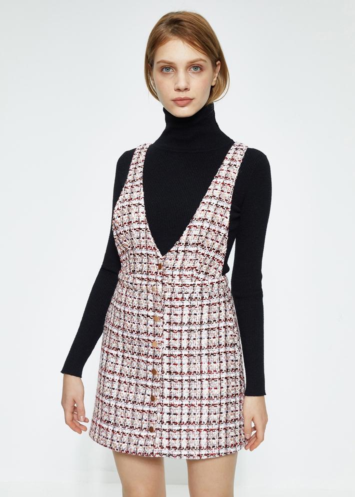 C&A小香风复古背带裙女士2020春季无袖连衣裙CA200225459