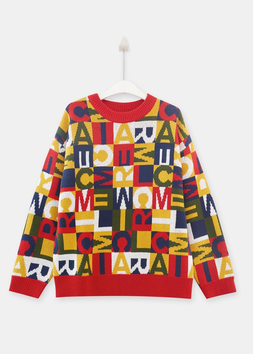 C&A潮流字母加厚彩色圆领套头毛衣女2020春新款CA200226908